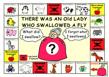 Old Lady Who Swallowed a Fly: Game Board