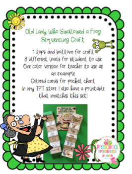 Old Lady Who Swallowed a Frog Sequencing Craft