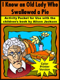 Thanksgiving Reading Activities: Old Lady Who Swallowed a Pie Activities - Color
