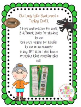 Old Lady Who Swallowed a Turkey Crafts
