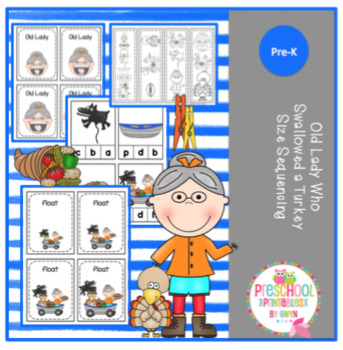 Old Lady Who Swallowed a Turkey Size Sequencing Cards