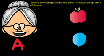Old Lady With Letters and Beginning Sounds Smartboard