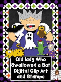 Old Lady who Swallowed a Bat Clip Art and Digital Stamps