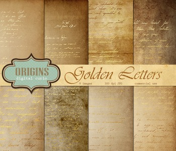 Old Letters Scrapbook Paper Vintage Antique Gold Backgrounds