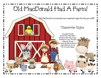 Old MacDonald Farm Class Signs