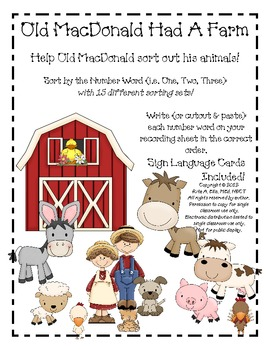 Old MacDonald Farm Number Word Sort