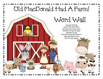 Old MacDonald Farm Word Wall