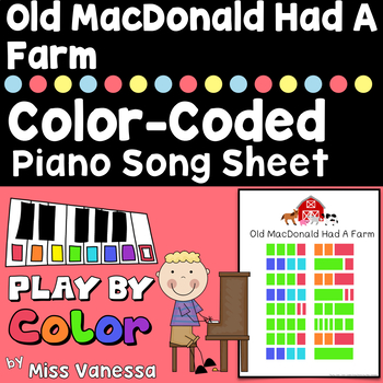 Old MacDonald Had A Farm Song, Easy-To-Play Color-Coded Piano Songs