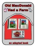 Old MacDonald Had a Farm ADAPTED VELCRO BOOK, SPEECH THERA