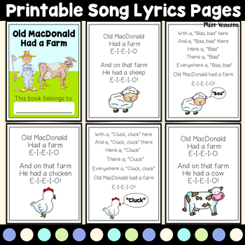 Old MacDonald Had A Farm Song Lyrics, Animal Picture Cards with Names & Sounds
