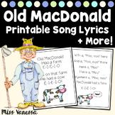 Old MacDonald Had A Farm Song Lyrics And Activity