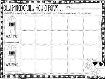 Old MacDonald Word Family Sort