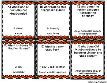 Old MacDonald had a Woodshop Comprehension Game Kindergarten