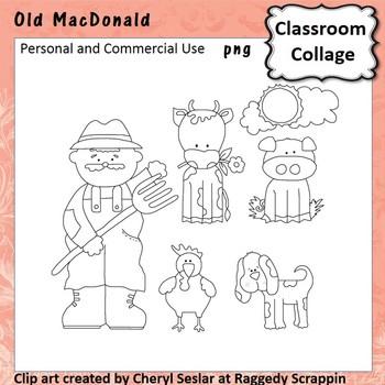 Old MacDonald line drawings pers/com nursery rhyme C Seslar