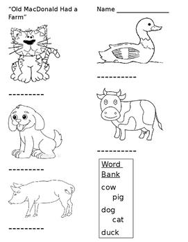 Old MacDonald worksheet