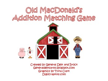 Old MacDonald's Addition Matching Game