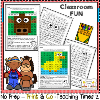 Farm Animals Hundreds Charts l MATH CENTERS l SCIENCE
