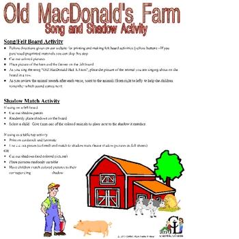 Old MacDonald's Farm Shadow Activity