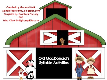 Old MacDonald's Syllable Activities