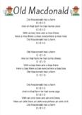Old Macdonald Song Sheet