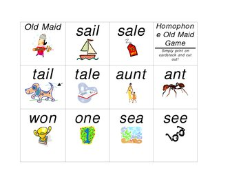 Old Maid Homophone Game