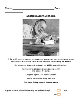 """Old Man and the Sea: Informational Text - """"Shortest Story"""