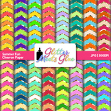 Summer Fun Chevron Paper {Scrapbook Backgrounds for Task Cards & Brag Tags}