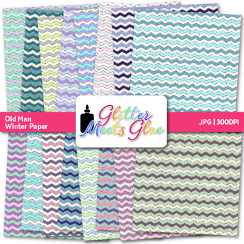 Old Man Winter Chevron Paper | Scrapbook Backgrounds for Classroom Decor