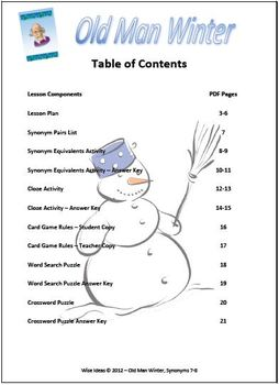 Old Man Winter Synonyms Activities (Winter Theme 7th-8th Grade)