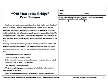 """Old Man at the Bridge"" by Ernest Hemingway: Annotation Organizer"