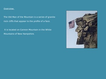 Old Man of the Mountain - Power Point - History Facts Collapse - 6 Slides