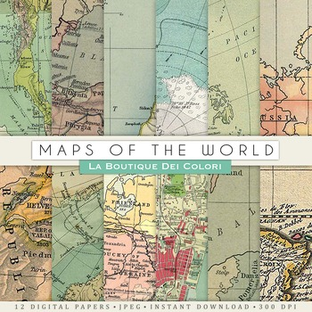 Old Maps Textures Digital Paper, scrapbook backgrounds