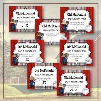 Old McDonald Had a Rhythm Farm - 7 Item BUNDLE (Kodaly Review Game)