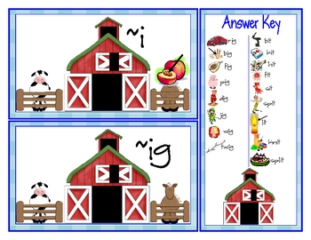 Old McDonald's Farm Literacy Center Short I Word Families ~it ~ig