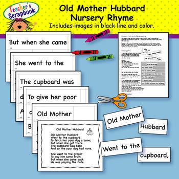 Old Mother Hubbard Nursery Rhyme Headbands & Sentence Strips
