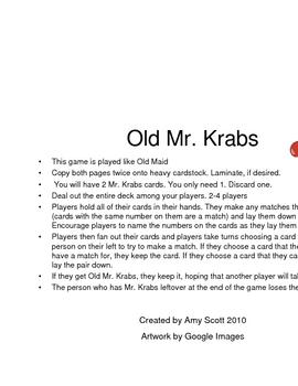 Old Mr. Krabs Numeral Recognition Game