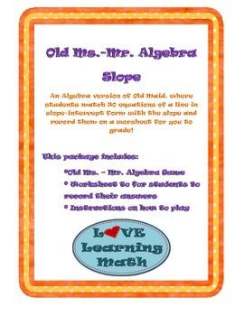 Old Ms.- Mr. Algebra Slope Game