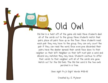 Old Owl Sight Word Game