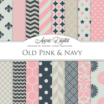 Old Pink and Navy Digital Paper patterns - backgrounds