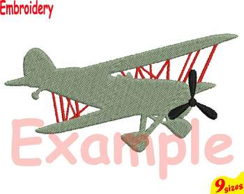 Old Planes Airplane Designs for Embroidery 4x4 5x7 hoop Science Biplane 109b
