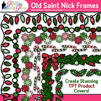 Old Saint Nick's Christmas Clip Art: Border Graphics {Glitter Meets Glue}