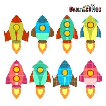 Old School Rocket Ship Clip Art - Great for Art Class Projects!