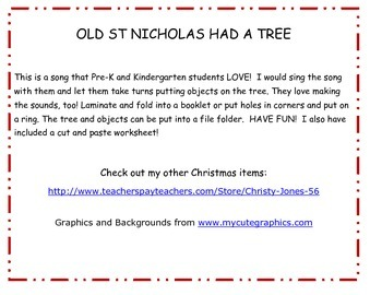 Christmas Activity - Old St Nicholas Had a Tree- Song Activity