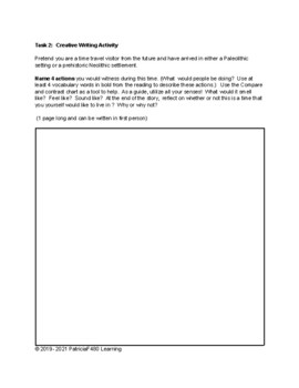 Old Stone Age and New Stone Age: Time Travel Writing Activity  6th and 7th grade