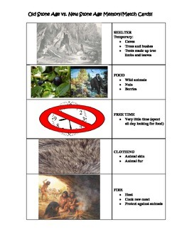 Old Stone Age vs. New Stone Age Memory/Match Cards