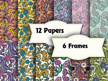 """Old Style Floral Scrapbook Papers & Frames– 12 x 12"""" Vecto"""
