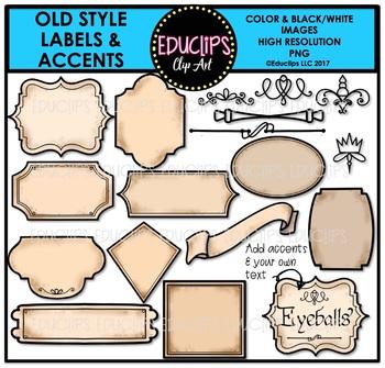 Old Style Labels & Accents Clip Art Bundle {Educlips Clipart}