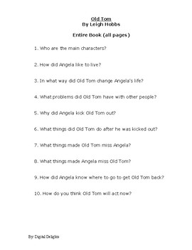 Old Tom  Reading Comprehension Questions