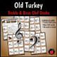 Old Turkey Card Games: Treble Clef Bass Clef Music Games Thanksgiving Lessons