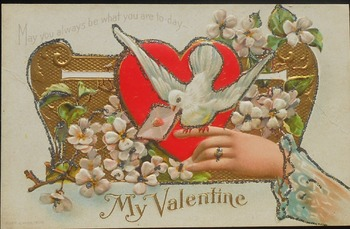 Old Valentine's Day Postcards Ratio and Precentage Worksheet
